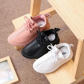 Girls And Boys Shoes Baby Yeezy Sneakers Air Yeezy Kids Female Child Girls Leather Spo