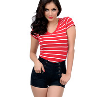 Red & White Nautical Stripe Short Sleeve Knit Tee