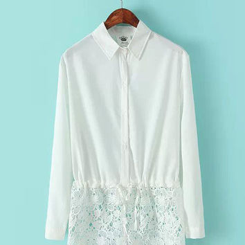 Pointed Flat Collar Long Sleeve Lace Accent Chiffon Blouse