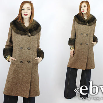 Vintage 70s Brown Tweed Double Breasted Fur Coat M L Brown Peacoat Princess Coat Tweed Coat Vintage Coat Vintage Jacket Double Breasted Coat