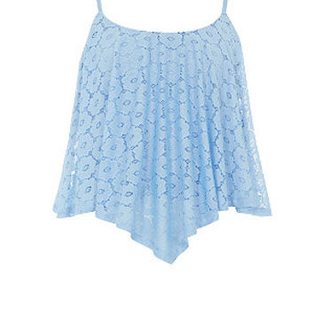 Teens Pale Blue Daisy Lace Hanky Hem Crop Top