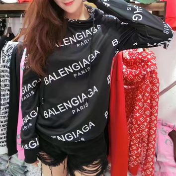"""Balenciaga"" Fashion Casual Logo Letter Print Long Sleeve Women Hooded Sweater Tops"