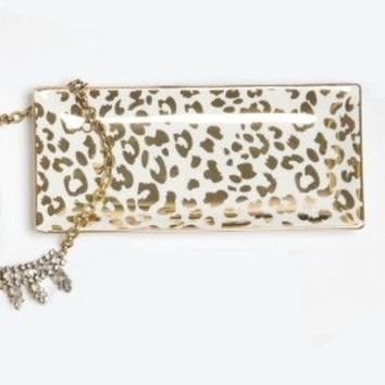 Gold Leopard Trinket Tray