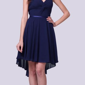Short Twisted Bodice Chiffon Navy Blue Bridesmaid Dress Strapless