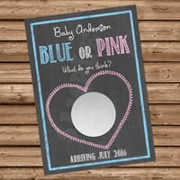 Personalized Gender Reveal - Gender Reveal Scratch Off - Reveal Ideas - Chalkboard - Blue or Pink - Custom - Scratch Card - Reveal Party