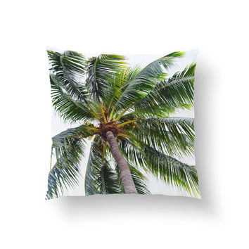 Caribbean Palm - Throw Pillow Cover, Green Palm Tree Decor Accent, Beach Tropical Square Pillow Furnishing. In 14x14 16x16 18x18 20x20 26x26