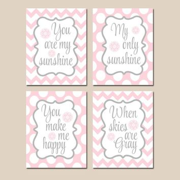 PINK GRAY You Are My Sunshine Wall Art, CANVAS or Prints, Baby Girl Nursery Song Rhyme Quote Decor, Girl Set of 4 Chevron, Gift for Girl