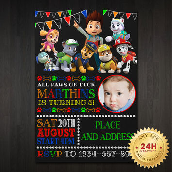Paw Patrol Chalkboard Birthday Invitation Design Bir