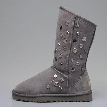 LFMON UGG 5838 Tall Ornaments Suede Women Fashion Casual Wool Winter Snow Boots Grey