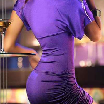 Purple Ruched Mini Dress