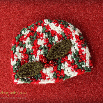 Crocheted Christmas Beanie - With Red Bells - Newborn - Baby - 3-6 Months - 6-12 Months