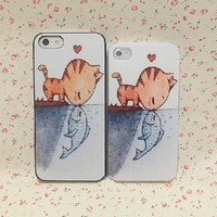 Cute Cat and Fish Print Case for iPhone