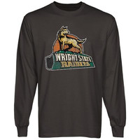 Wright State Raiders Distressed Primary Long Sleeve T-Shirt - Charcoal
