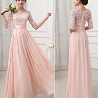Peach Crochet Embroidered Half Sleeve A-Line Pleated Maxi Dress