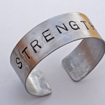 Aluminum STRENGTH Cuff Bracelet, BOLD Letters, Personalized Inspirational Message, Wide Band Cuff