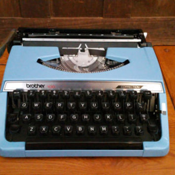 Vintage Working Light Blue Brother 100 Correction Typewriter Portable Compact Travel Typewriter With Case