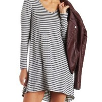 Lt Gray Combo Striped Scoop Neck Swing Dress by Charlotte Russe