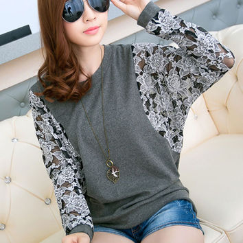Bat Sleeve Lace Stitching Loose T-Shirt