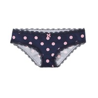 Aerie Women's Lace Trim Polka Dot Girly Brief (Royal Navy)