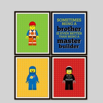 Lego Prints - Sometimes Being a Brother Quote, Master Builder Print, Boys Room, Brothers Print, Nursery Decor, Kids Room Wall Art, (4)8x10