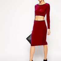 Lashes of London Velvet Midi Skirt