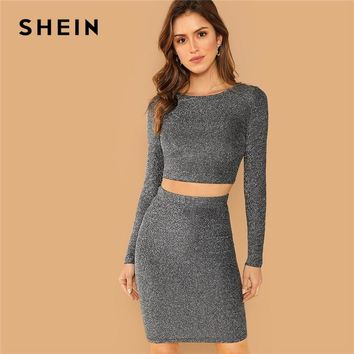 51468917d8 SHEIN Silver Plain Crop Form Fitting Glitter Top and Bodycon Ski