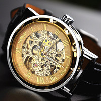 Man Watch Steampunk Mechanical Watch Gold by VintageLovers2012