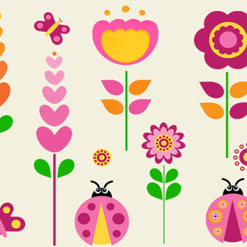 Spring Clipart 03 - JPEG , PNG - Instant Download - Commercial Use - 5x5 Sheet - Scrapbook Kit - Embellishments - High Quality 300 dpi