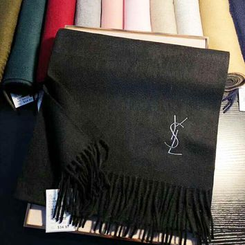 Yves Saint Laurent Classic Stylish Women Men Simple YSL Letter Embroidery Cashmere Cape Scarf Scarves Shawl Accessories Black