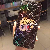 GUCCI New fashion protective cover tiger more letters iphone mobile phone phone case Black