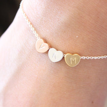 Sister bracelet, initial bracelet, heart bracelet, sister gifts, best friend bracelet, gift for mom, gift for best friend, silver bracelet