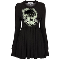 Bride Of Frankenstein Photo Printed Long Sleeve Peplum Mini Tunic Dress - Made In USA.