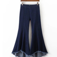 FREE SHIPPING Summer style asymmetrical flared trousers with large elastic legs and jeans with rough edges