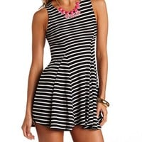 STRIPED WAFFLE WEAVE SKATER DRESS