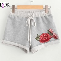 SweatyRocks Embroidered Rose Female Shorts 2017 Grey Drawstring Appliques Floral Bottom Mid Waist Regular Straight Shorts
