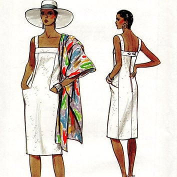 80s Sundress Designer Fashion Vogue 8983 Sewing Pattern Sheath Dress Shawl Slim Straight Fit Hip Pockets Uncut Plus Size Bust 34 36 38