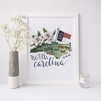 North Carolina State Map Wall Art Print