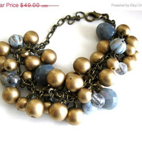 Valentines Day Sale Blue and Gold Pearl Glass Antique Brass Charm Bracelet