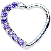 16 Gauge Purple CZ Heart Right Closure Daith Cartilage Tragus Earring | Body Candy Body Jewelry