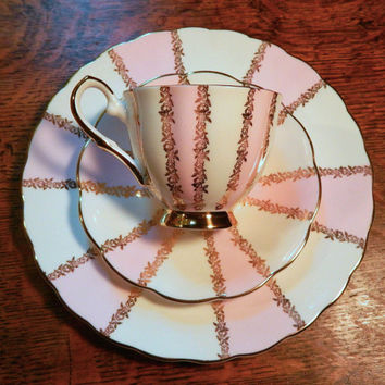 Whimsical Tea Trio Set - Cup, Saucer and Plate - Cotton Candy Pink & White Stripes - Gold Floral Trim - Royal Talbot Fine Bone China England