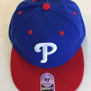 CREYONC. 47 BRAND PHILADELPHIA PHILLIES RETRO BLUE W/ RED BRIM SNAPBACK ADJUSTABLE HAT