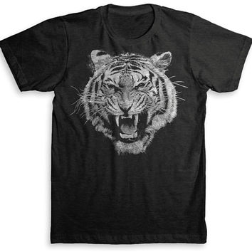 White Tiger T Shirt - Tri-Blend Vintage Fashion - Graphic Tees for Men & Women