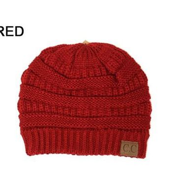 Slouchy Knit Beanie - RED