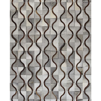 Lattice Cowhide Hand-Stitched Rug