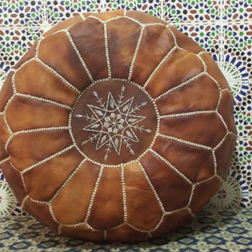 Moroccan Leather Pouffe (Pouf) - tan brown