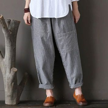 plus size celmia Women retro striped pockets elastic waist cotton linen long pants loose trousers harem capris pantalon