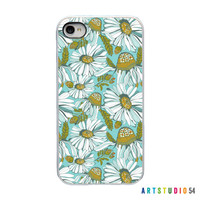 On Sale! Blue Yellow Green Flower with White, Black, Clear Sides - IPhone Case 4, 4S, 5, 5S, 5C, 6 Hard Cover - Unique Trendy - artstudio54