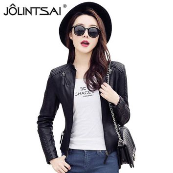 S-XXL New Fashion 2017 Spring Autumn Women Leather Coat Female Slim Black Leather Jacket PU Zippers Motorcycle Outerwear