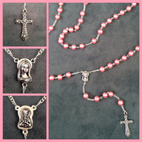 Handcrafted Pink Pearl Catholic Rosary - Perfect Gift for Mom, Grandmom, Sister, Daughter, Friend, Teacher - Religious - Catholic