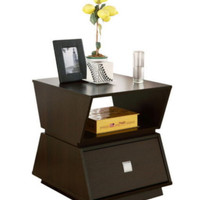 Modern End Table With Storage Shelf Living Room Furniture Rich Cappuccino Finish